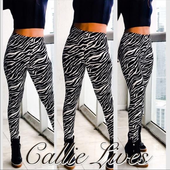 2611b479f Callie Lives Pants - Plus Size Black White Zebra Animal Print Leggings